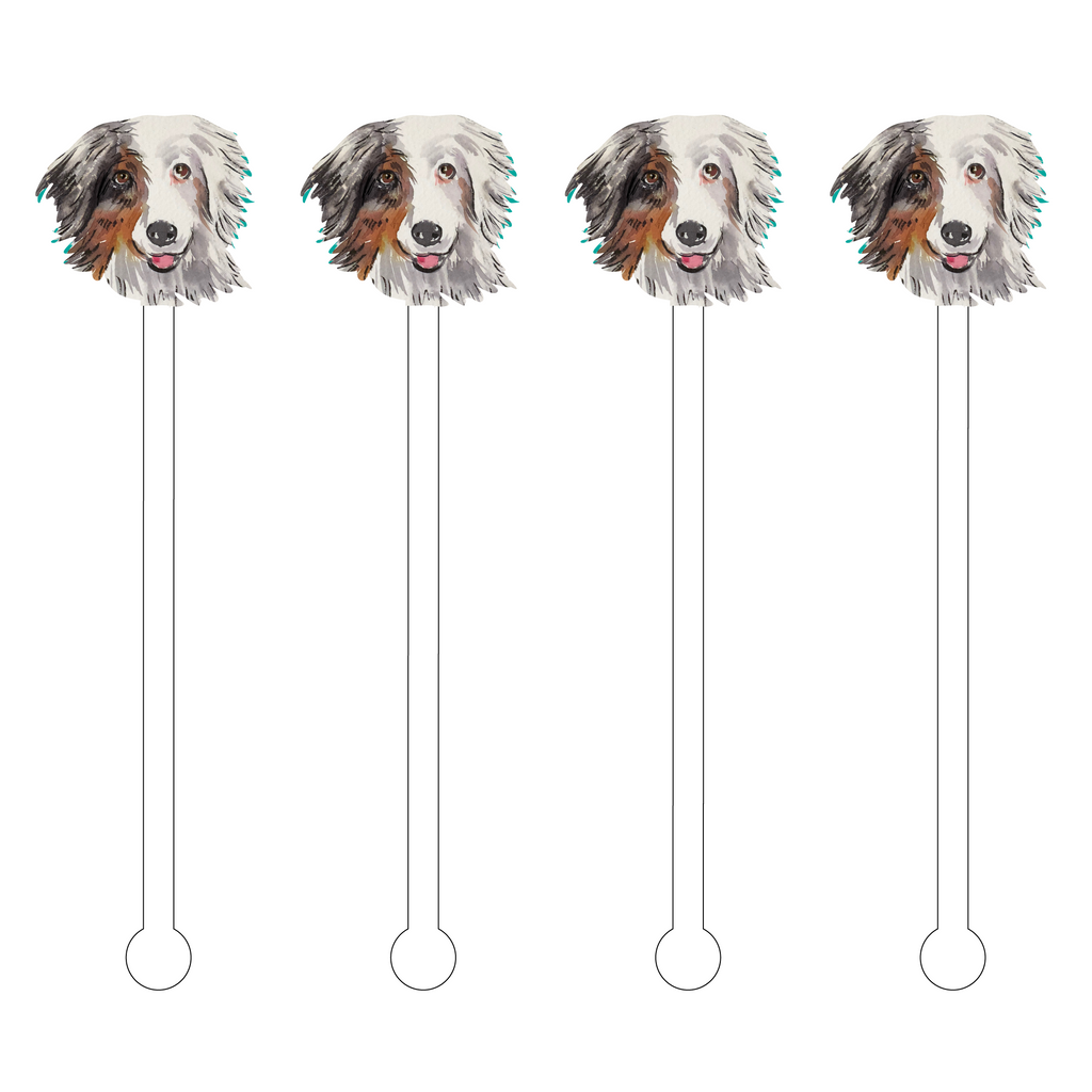 AUSTRALIAN SHEPARD FACE ACRYLIC STIR STICKS