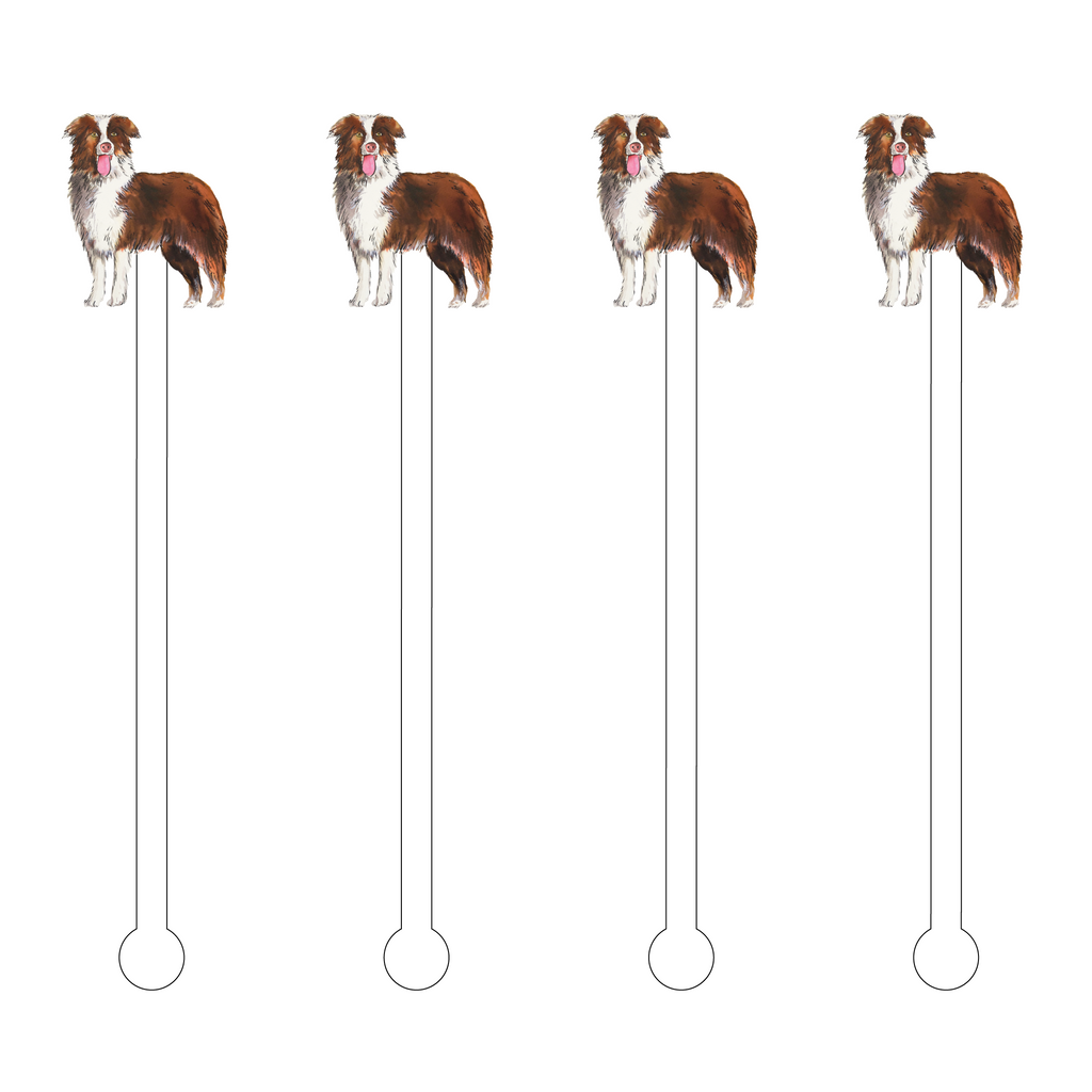 AUSTRALIAN SHEPARD RED ACRYLIC STIR STICKS