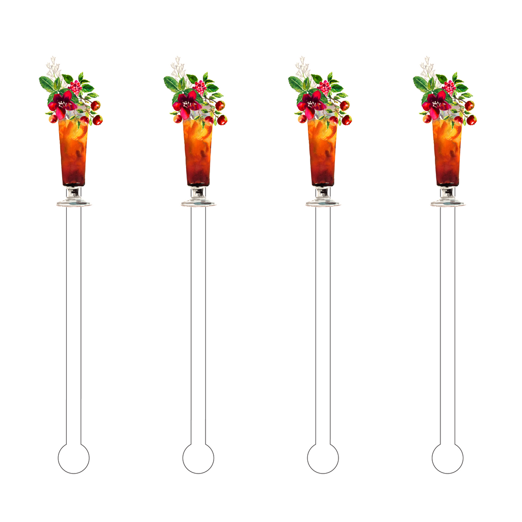 ORCHID CRABAPPLE COCKTAIL ACRYLIC STIR STICKS