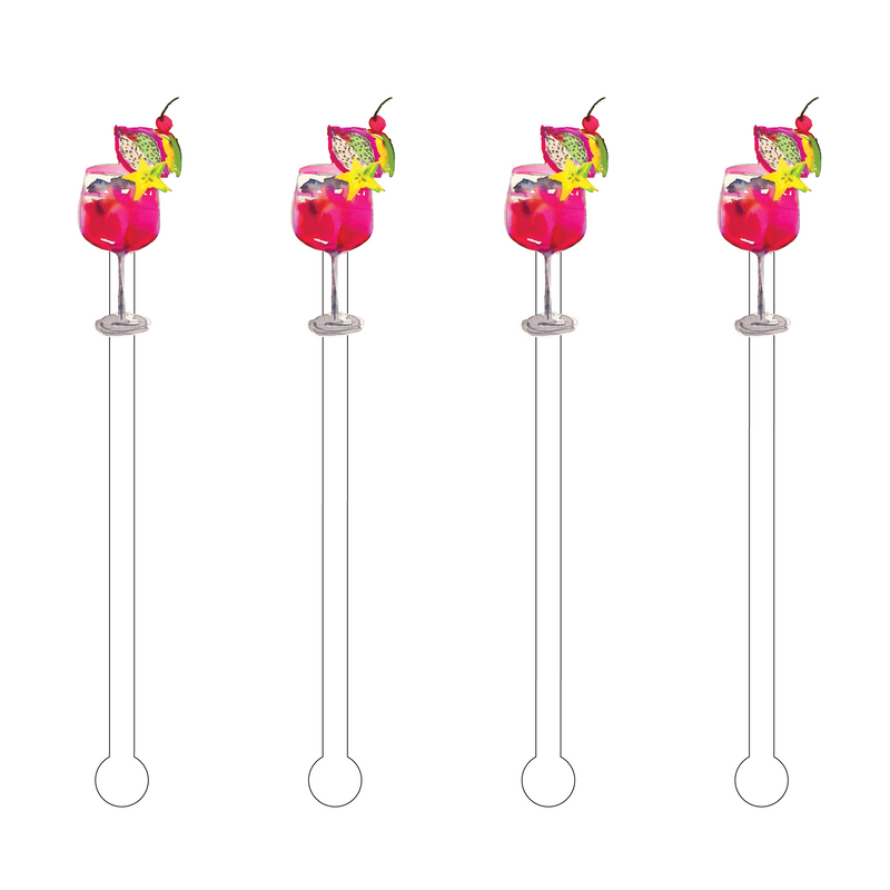 DRAGONFRUIT COCKTAIL ACRYLIC STIR STICKS