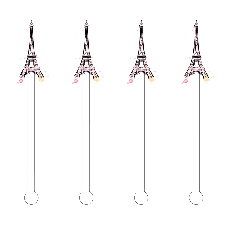EIFFEL TOWER PINK ACRYLIC STIR STICKS