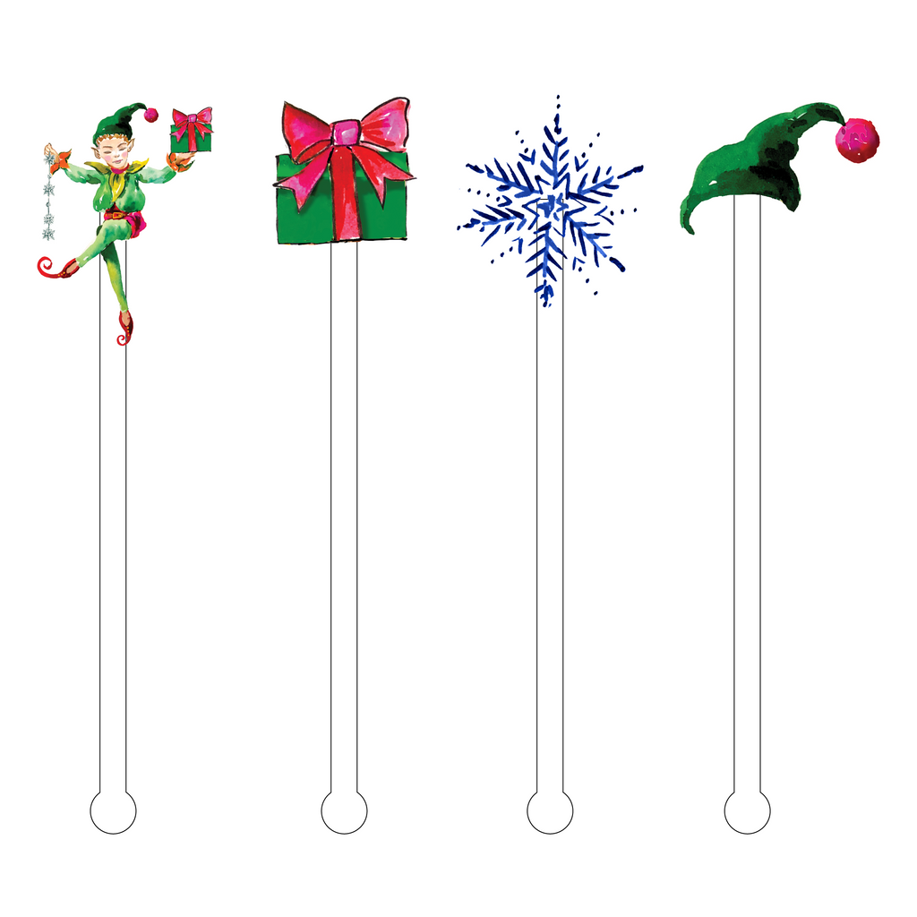 CHRISTMAS ELF ACRYLIC STIR STICKS COMBO