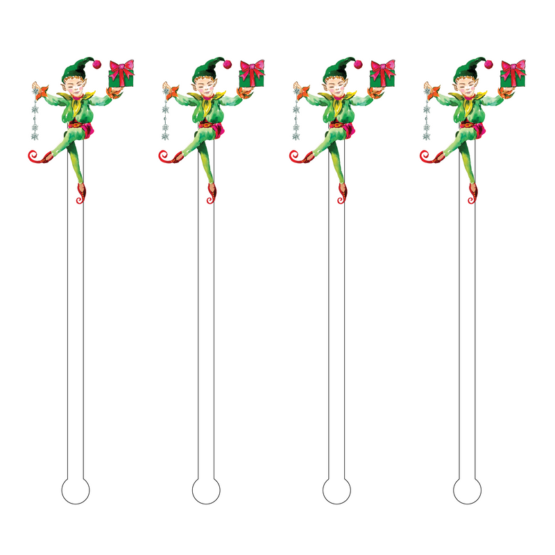 CHRISTMAS ELF ACRYLIC STIR STICKS