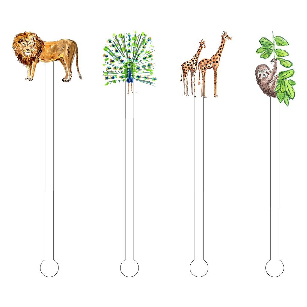 EVELYN'S ANIMALS ACRYLIC STIR STICKS COMBO