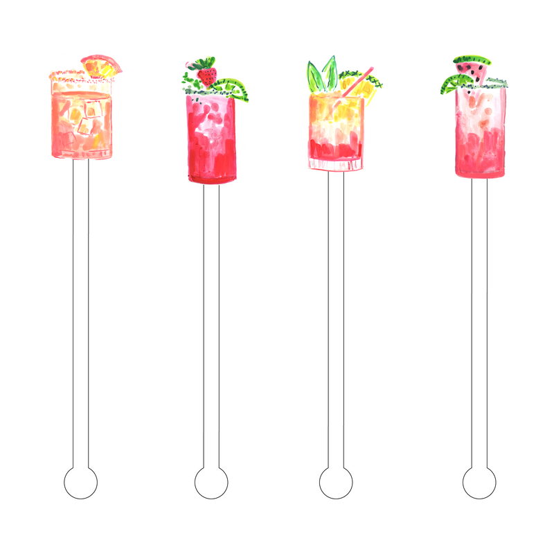 TROPICAL QUENCHERS ACRYLIC STIR STICKS COMBO
