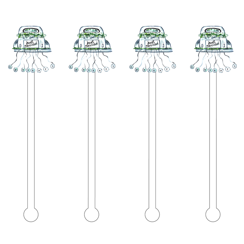 JUST MARRIED ACRYLIC STIR STICKS
