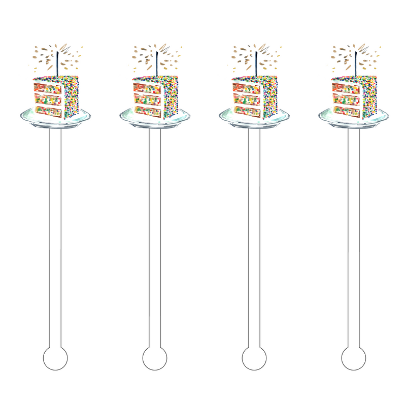 BIRTHDAY CONFETTI CAKE SLICE ACRYLIC STIR STICKS
