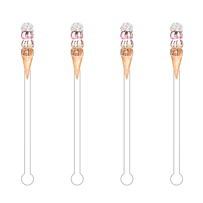 I SCREAM FOR ICE CREAM ACRYLIC STIR STICKS