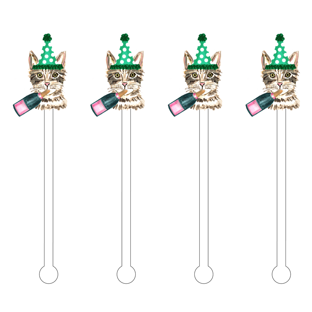 CHAMPAGNE KITTY ACRYLIC STIR STICKS