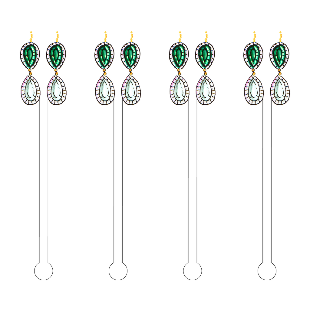 EMERALD OPAL DROP EARRINGS ACRYLIC STIR STICKS