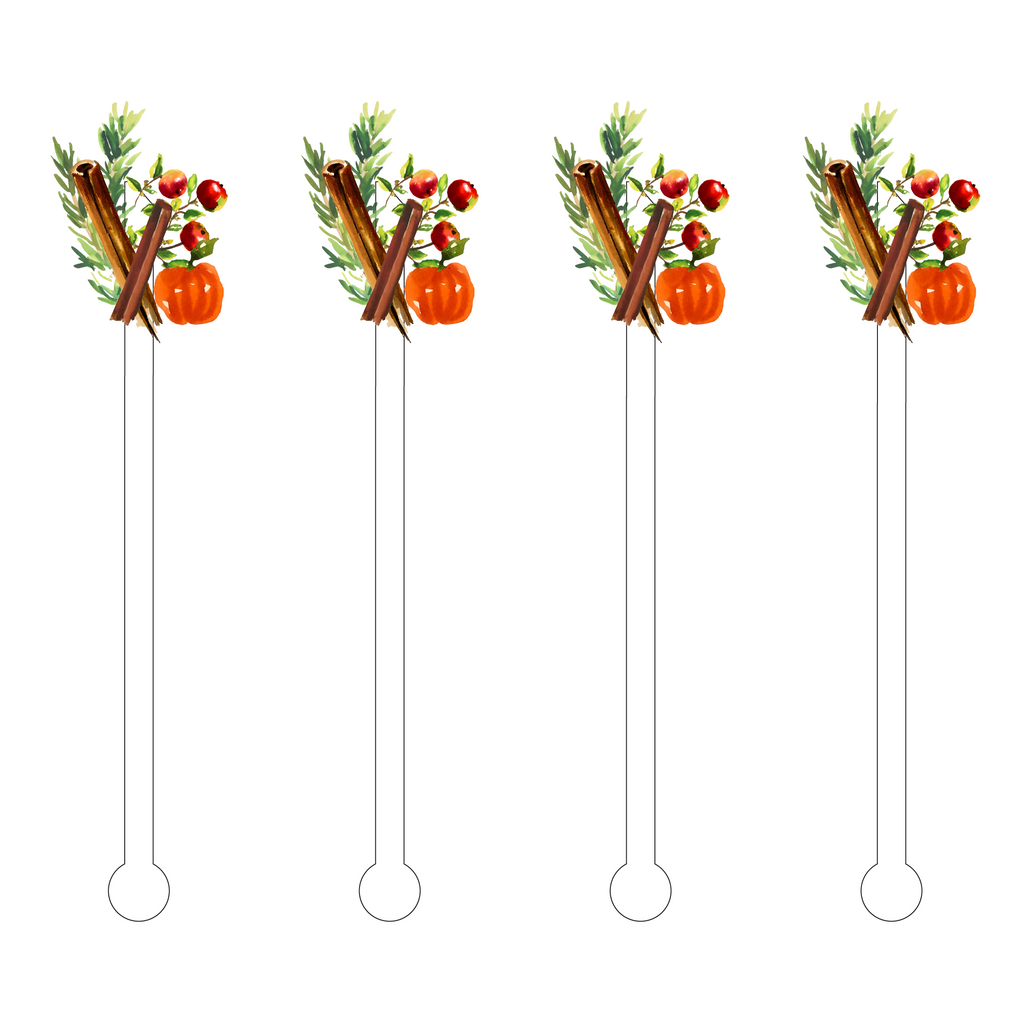FALL GARNISH CLUSTER ACRYLIC STIR STICKS