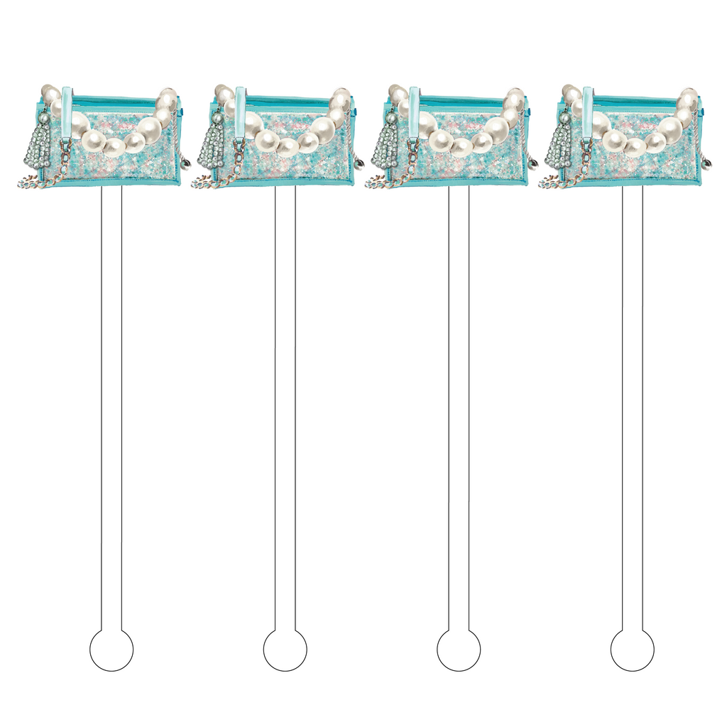 AQUA TWEED CLUTCH ACRYLIC STIR STICKS