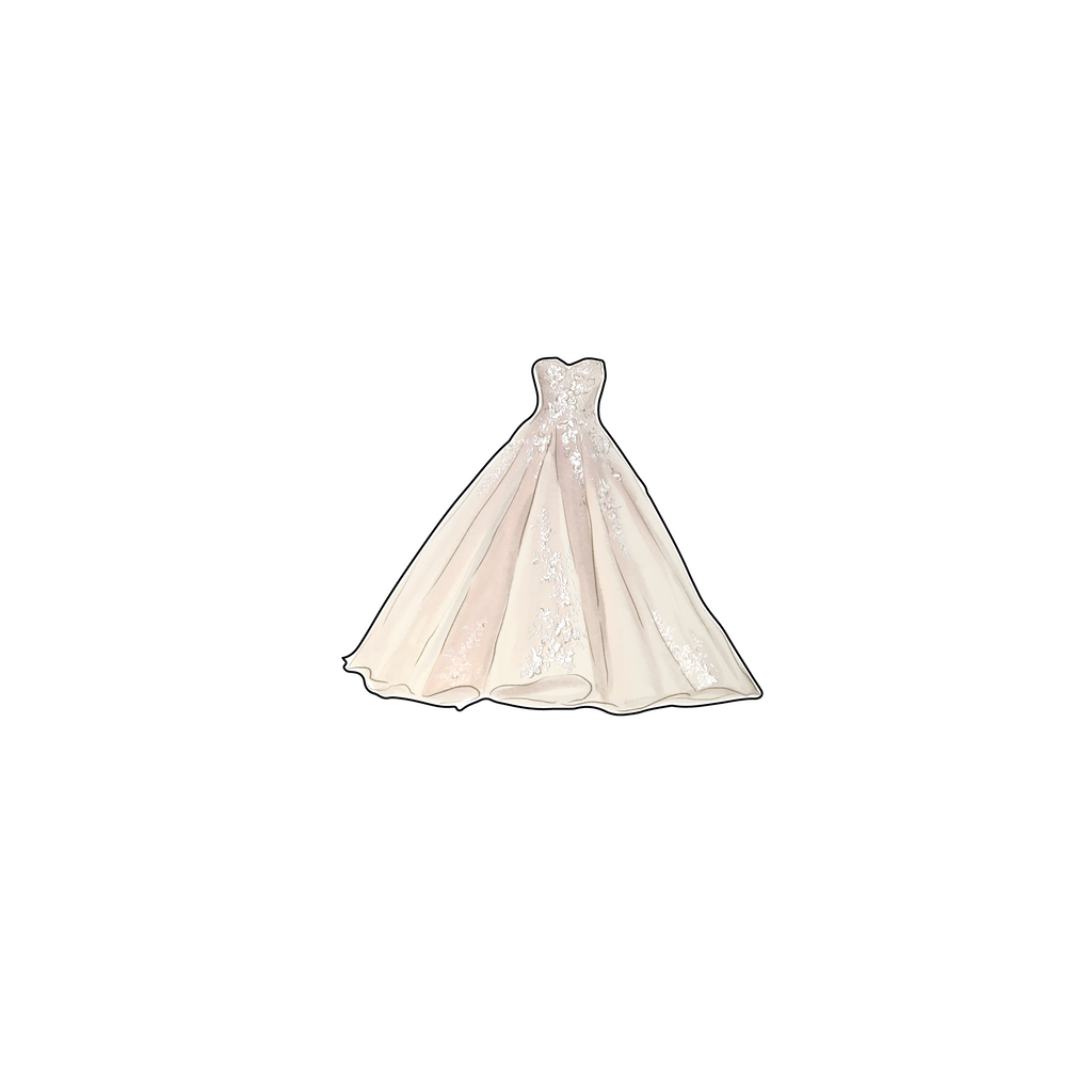 BLUSH WEDDING GOWN ACRYLIC FLAT LAY ACCESSORY
