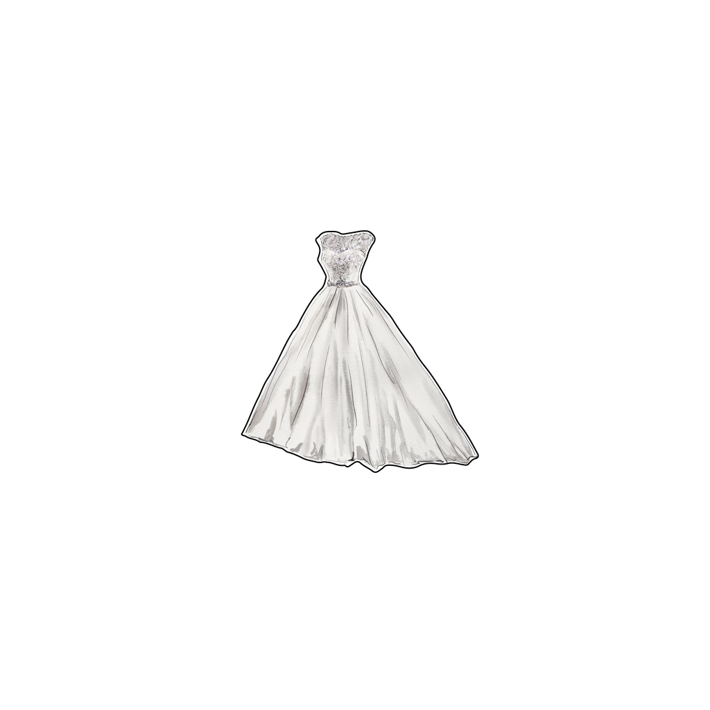 PEARL BODICE WEDDING GOWN ACRYLIC FLAT LAY ACCESSORY