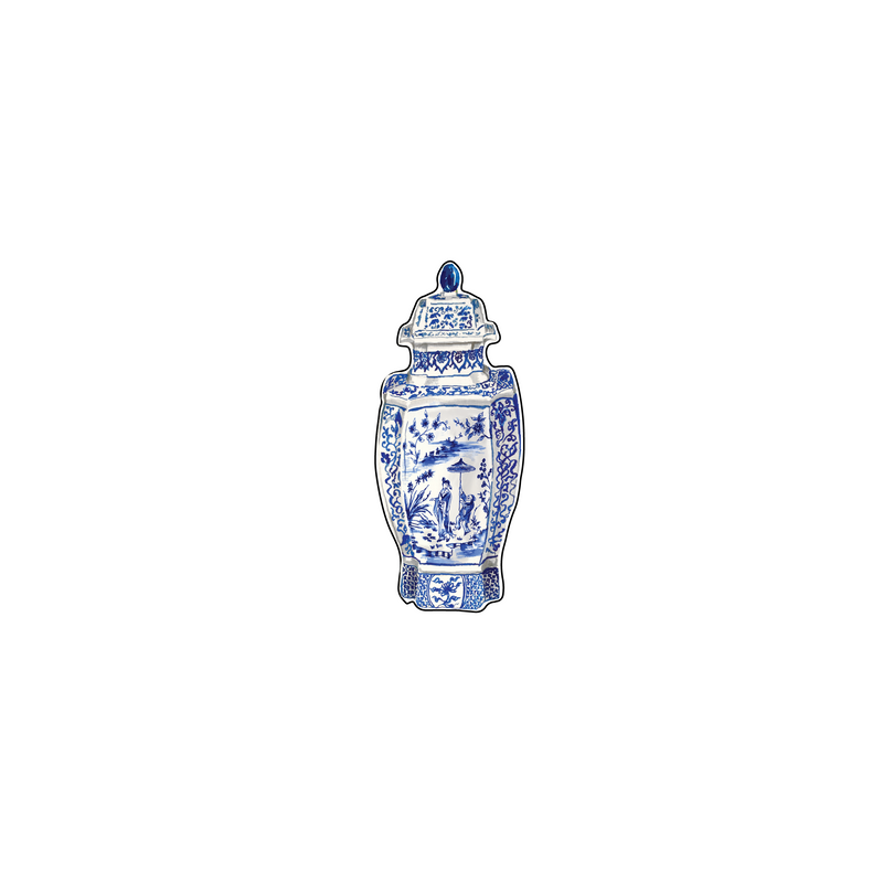 BLUE & WHITE GEISHA SCENE GINGER JAR ACRYLIC FLAT LAY ACCESSORY