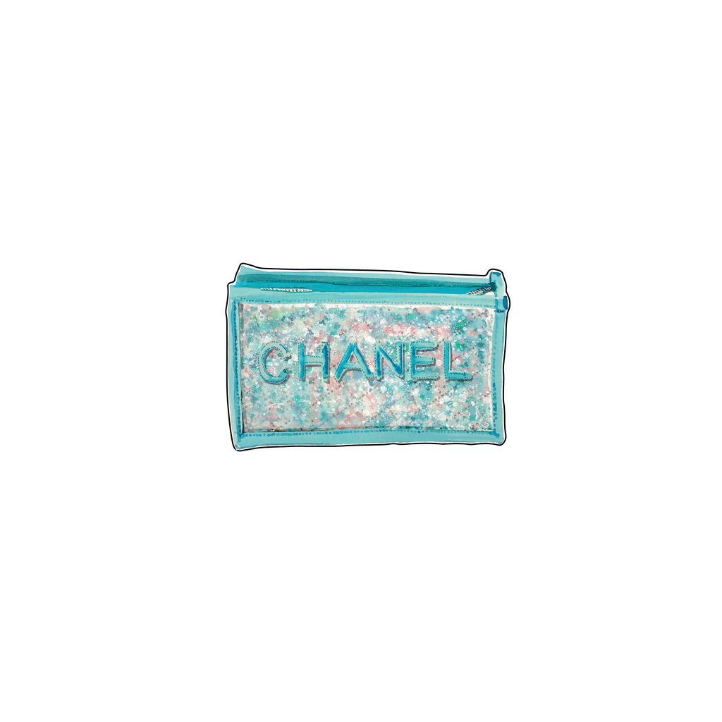 DESIGNER TURQUOISE TWEED CLUTCH ACRYLIC FLAT LAY ACCESSORY