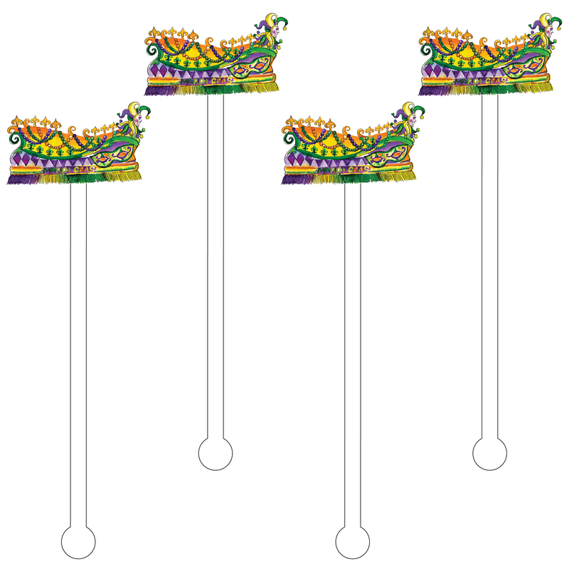 FLEUR DE LIS MARDI GRAS FLOAT ACRYLIC STIR STICKS