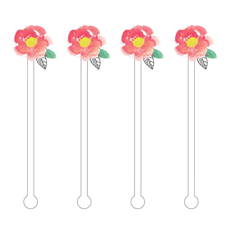 PEACH WATERCOLOR FLOWER ACRYLIC STIR STICKS