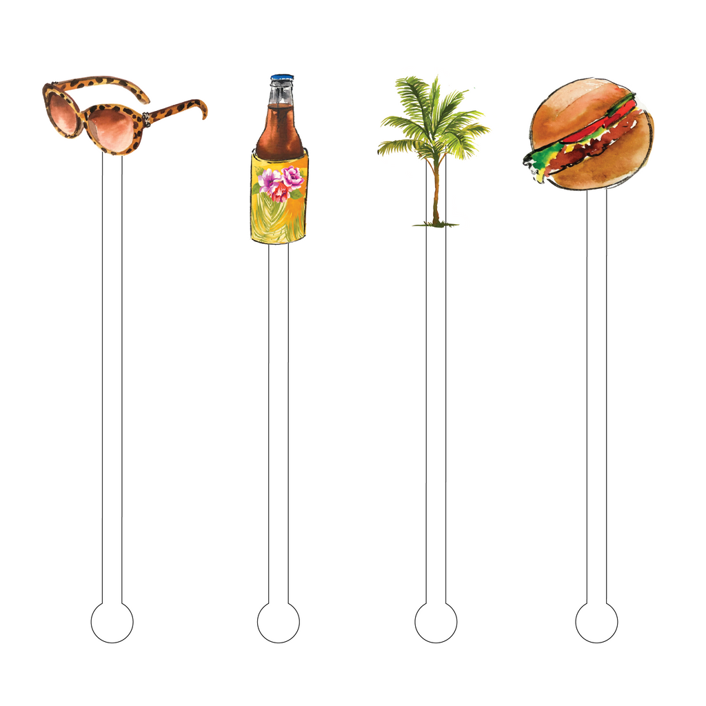 CHEESEBURGER IN PARADISE ACRYLIC STIR STICKS COMBO