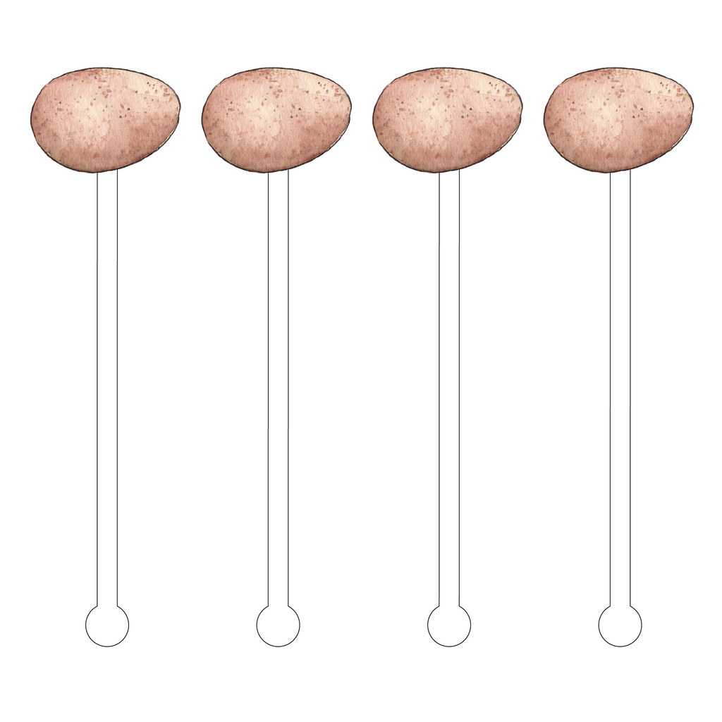 BROWN SPECKLED EGG ACRYLIC STIR STICKS