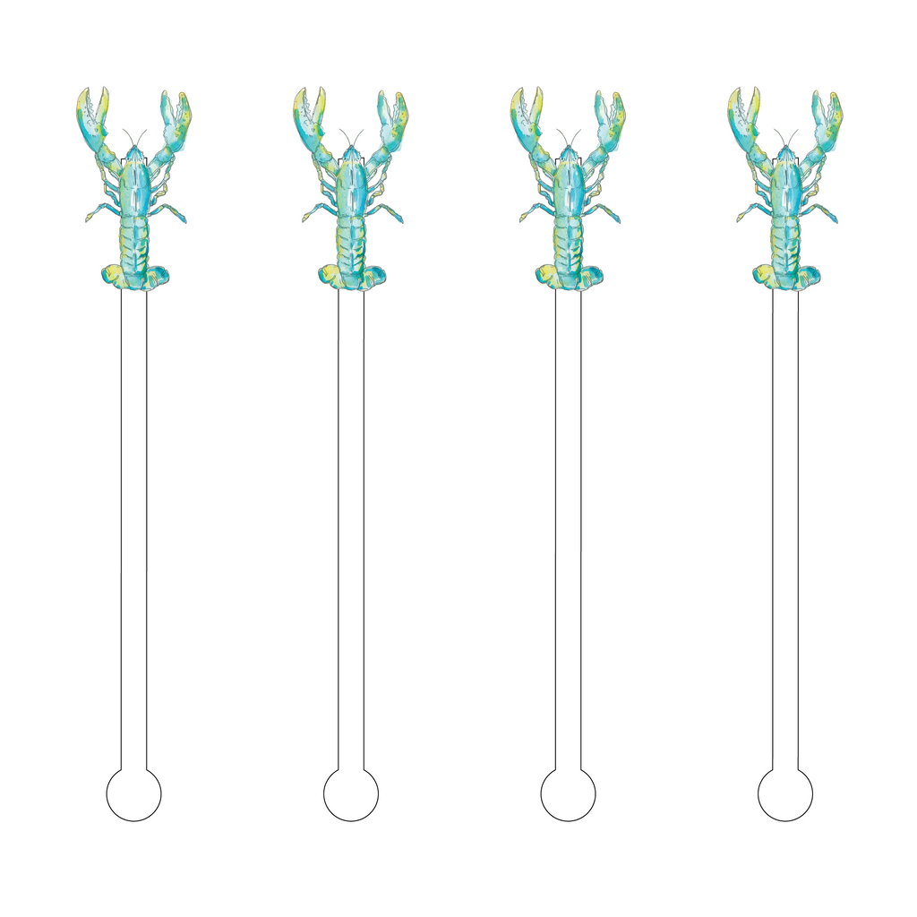 BLUE LOBSTER ACRYLIC STIR STICKS