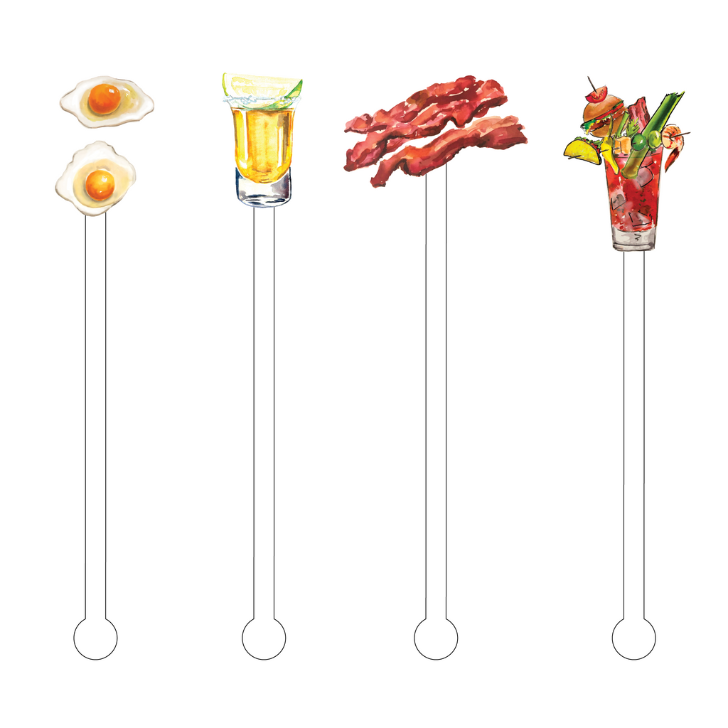 BREAKFAST HANGOVER ACRYLIC STIR STICKS COMBO