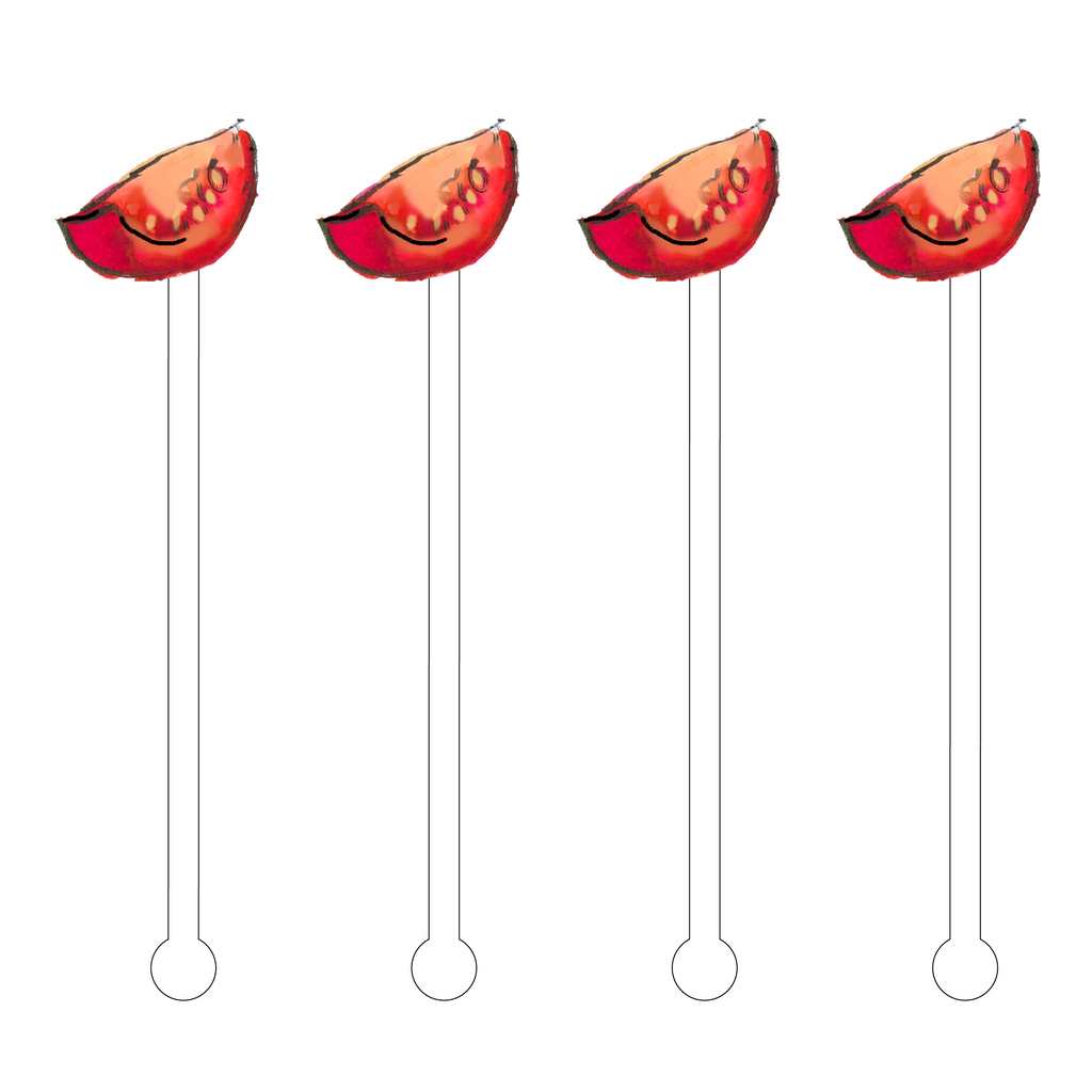 TOMATO SLICE ACRYLIC STIR STICKS