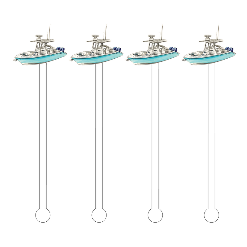 FISHING BOAT ACRYLIC STIR STICKS