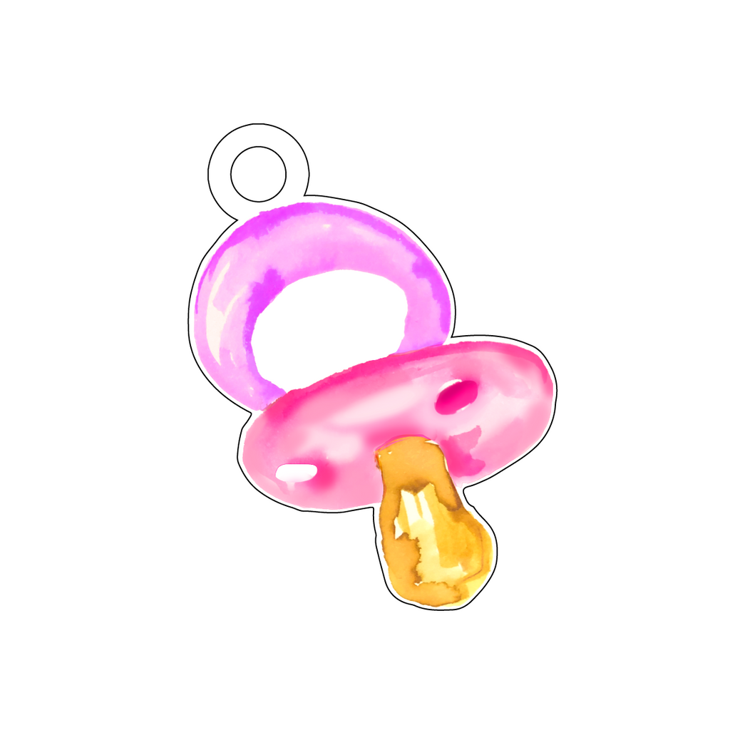 BABY GIRL PINK PACIFIER ACRYLIC GIFT TAG*