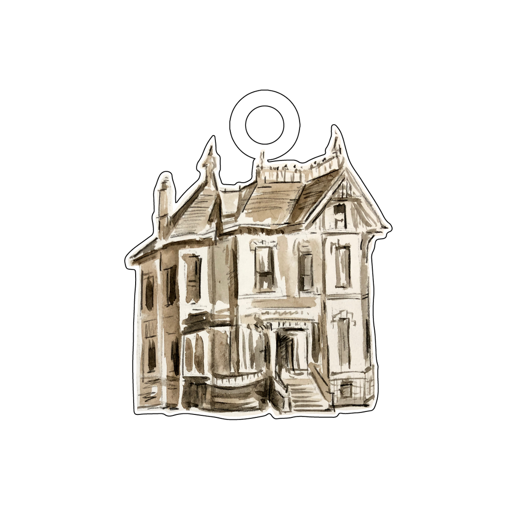 HAUNTED HOUSE ACRYLIC GIFT TAG*