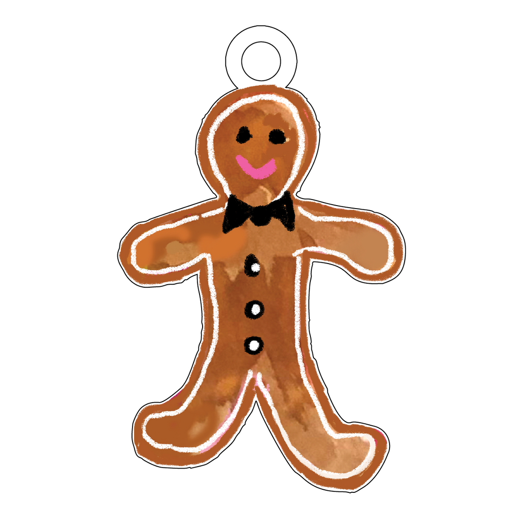 GINGERBREAD BOY ACRYLIC GIFT TAG
