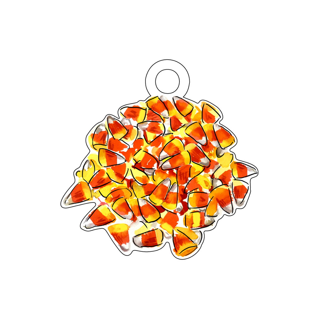 PILE OF CANDY CORN ACRYLIC GIFT TAG