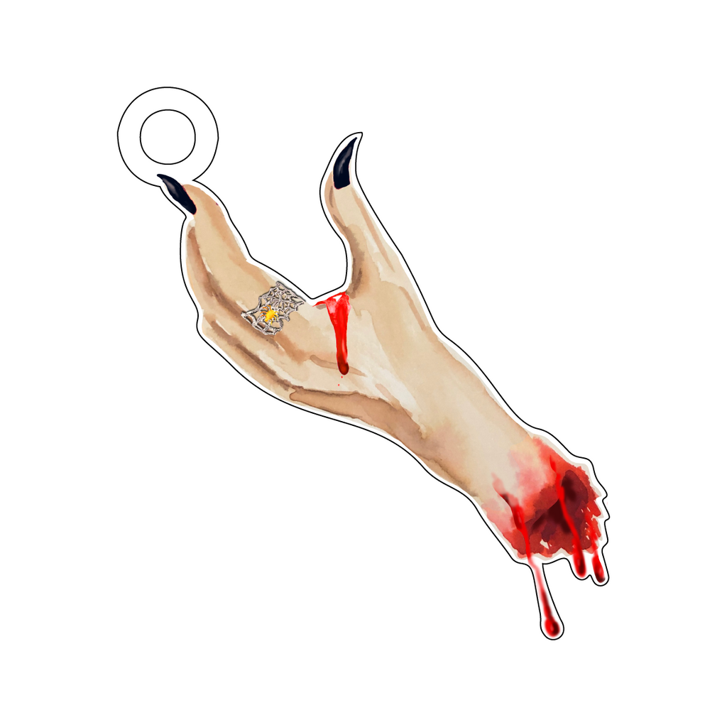 BLOODY HAND ACRYLIC GIFT TAG