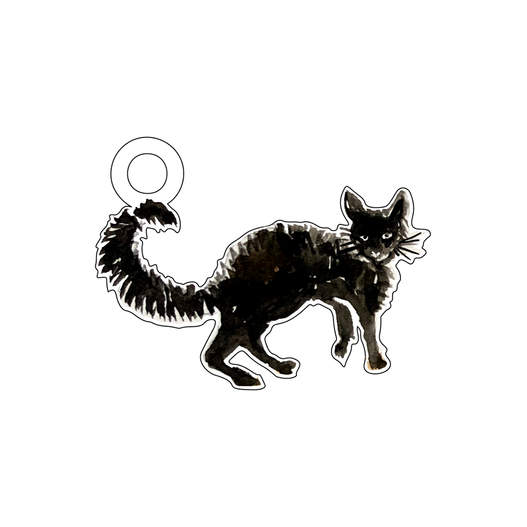 BLACK CAT ACRYLIC GIFT TAG