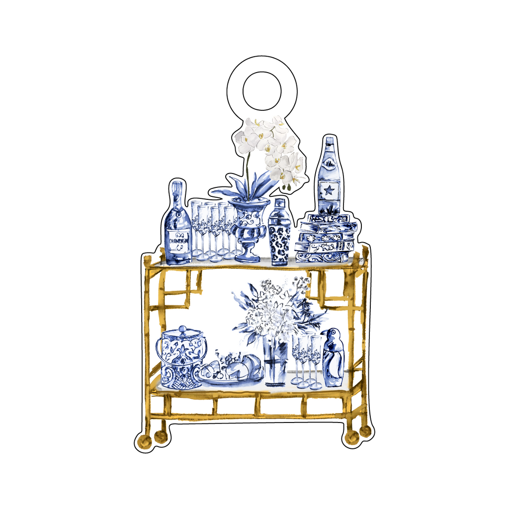 BLUE & WHITE BOUJIE BAR CART ACRYLIC GIFT TAG