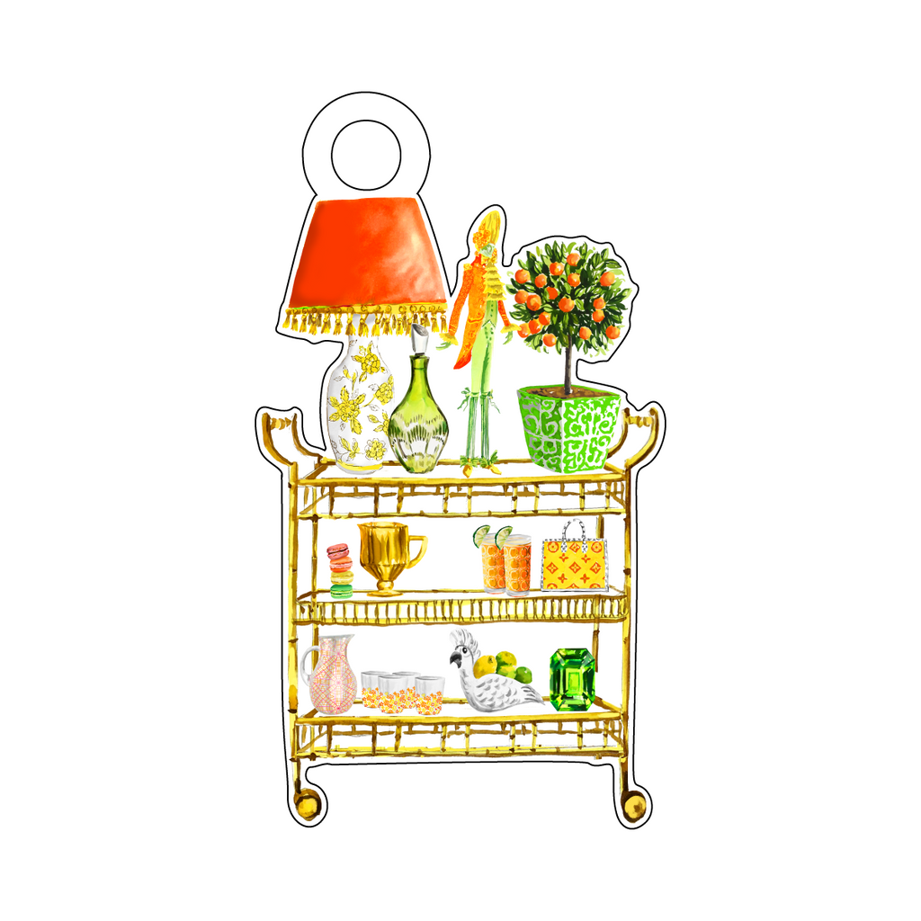 CITRUS CONTEMPO BAR CART ACRYLIC GIFT TAG