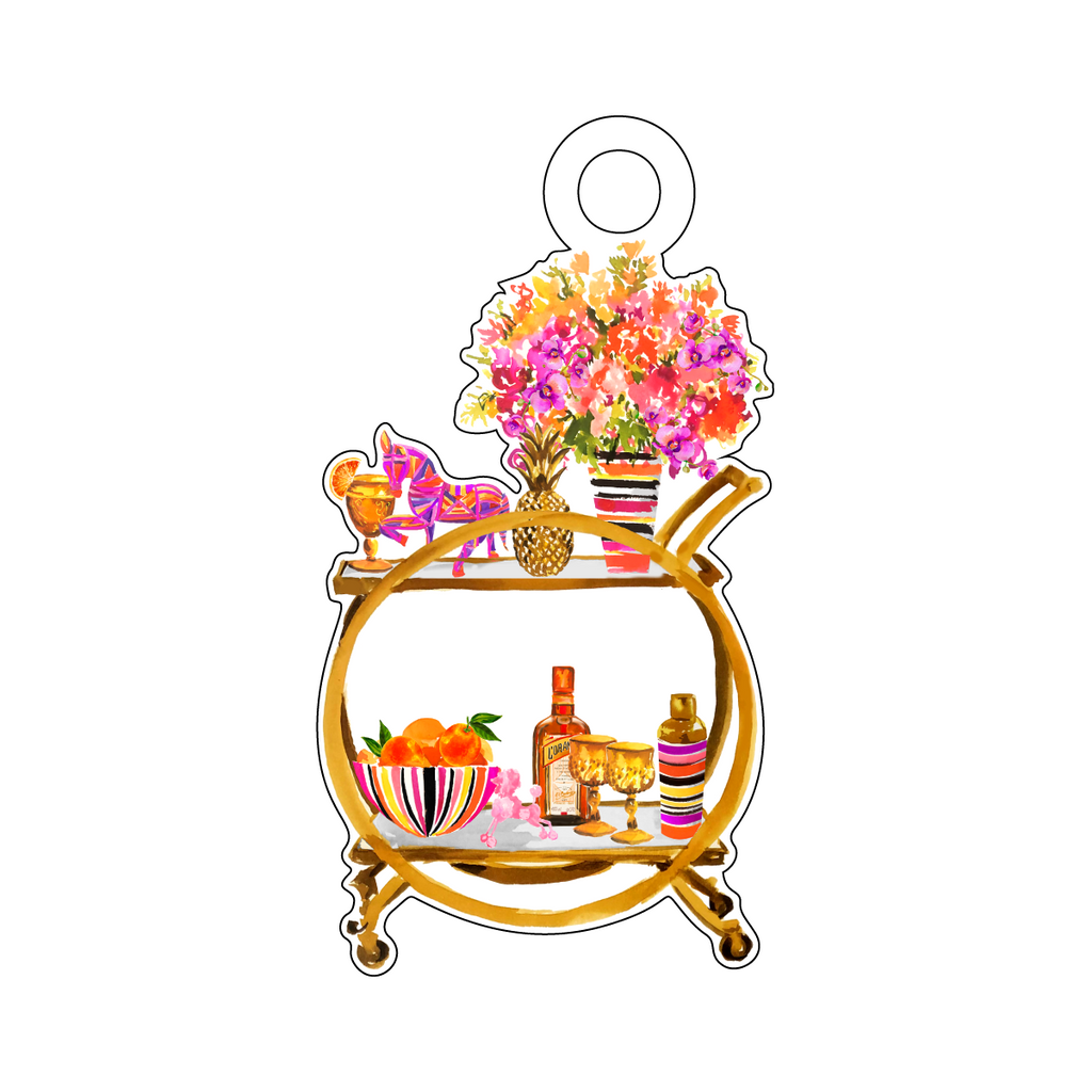MODERNIZED SWANK BAR CART ACRYLIC GIFT TAG