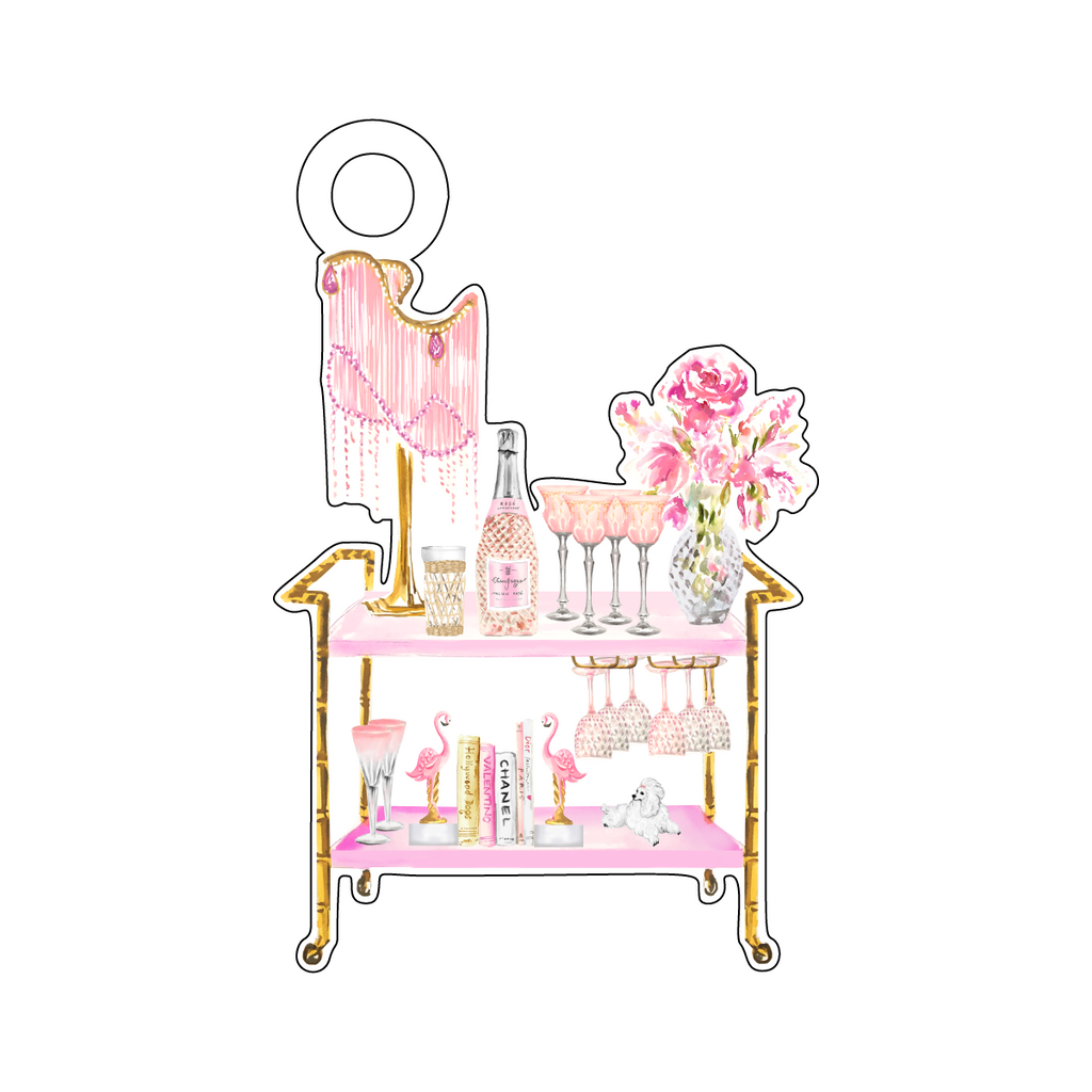 FLAMINGO SHI SHI BAR CART ACRYLIC GIFT TAG