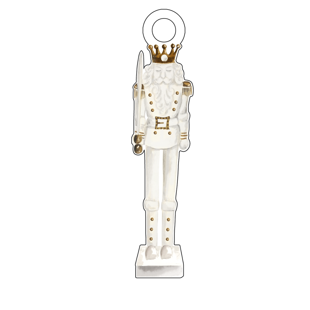 GOLD & WHITE KING NUTCRACKER ACRYLIC GIFT TAG