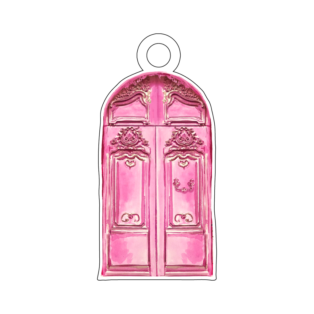 DECORATIVE PINK DOOR ACRYLIC GIFT TAG*