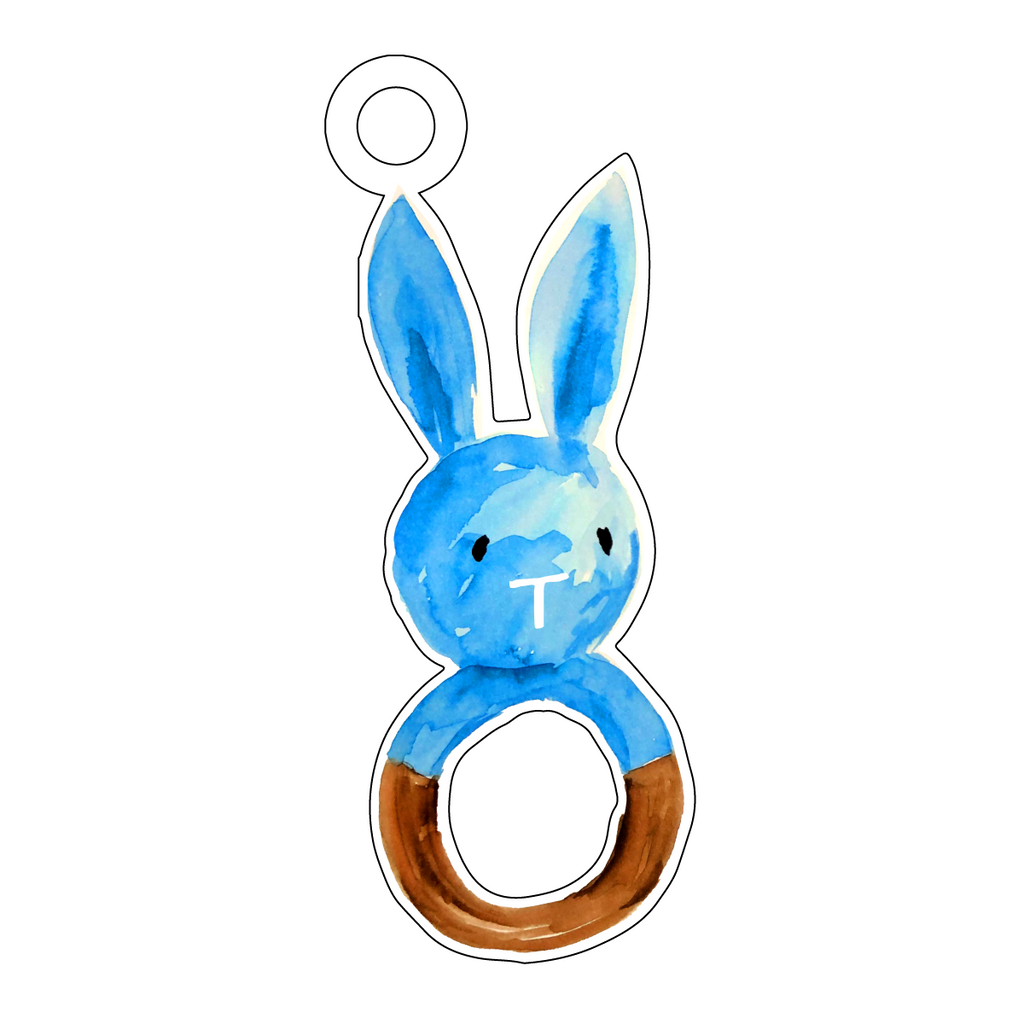 BLUE BUNNY RATTLE ACRYLIC GIFT TAG*
