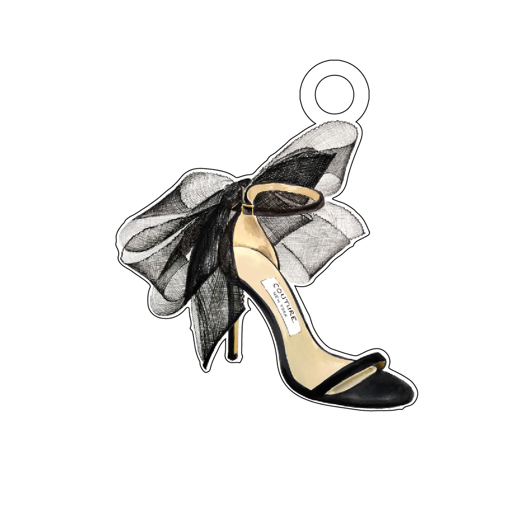 BLACK HORSE HAIR BOW STILETTO ACRYLIC GIFT TAG*