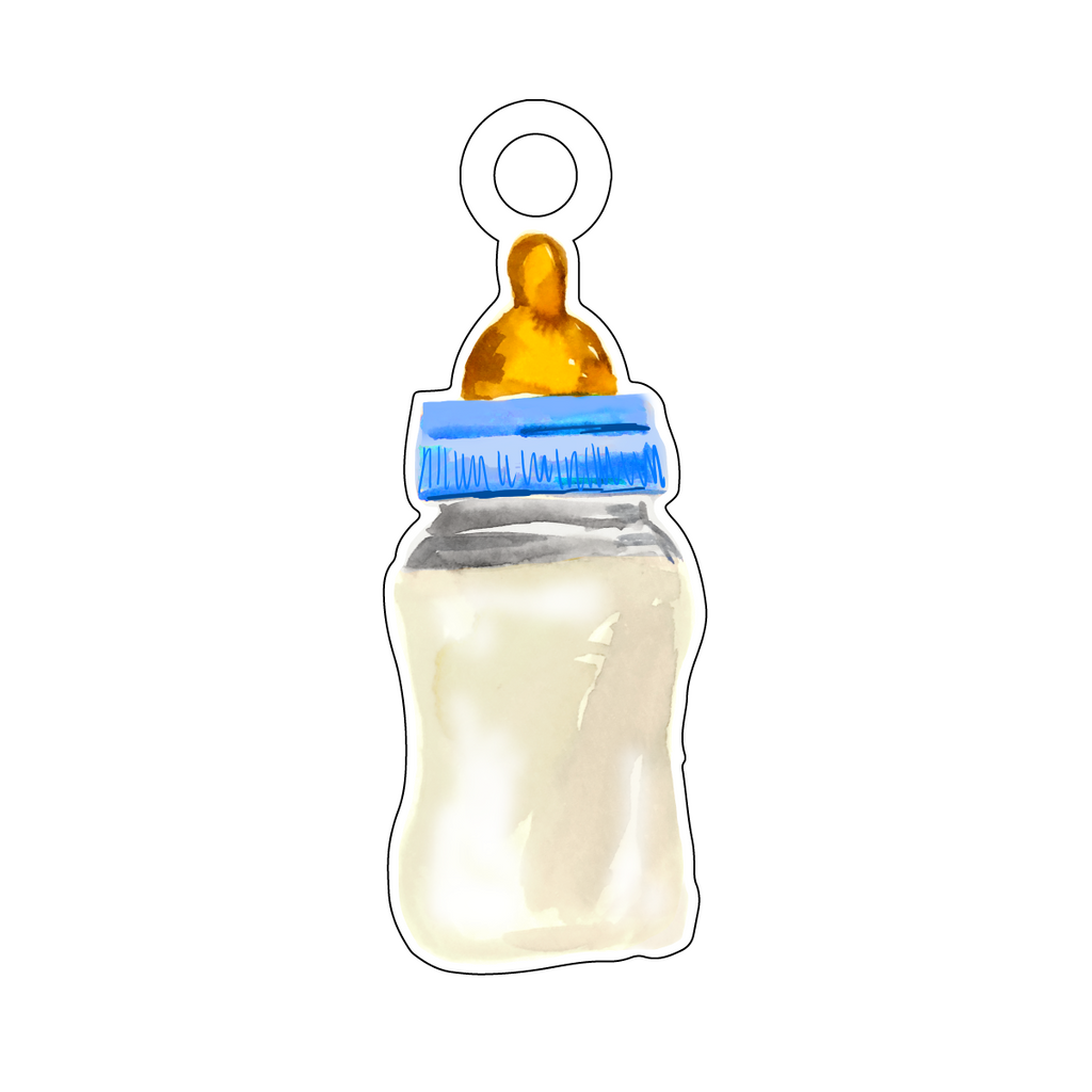 BABY BOTTLE BLUE ACRYLIC GIFT TAG*
