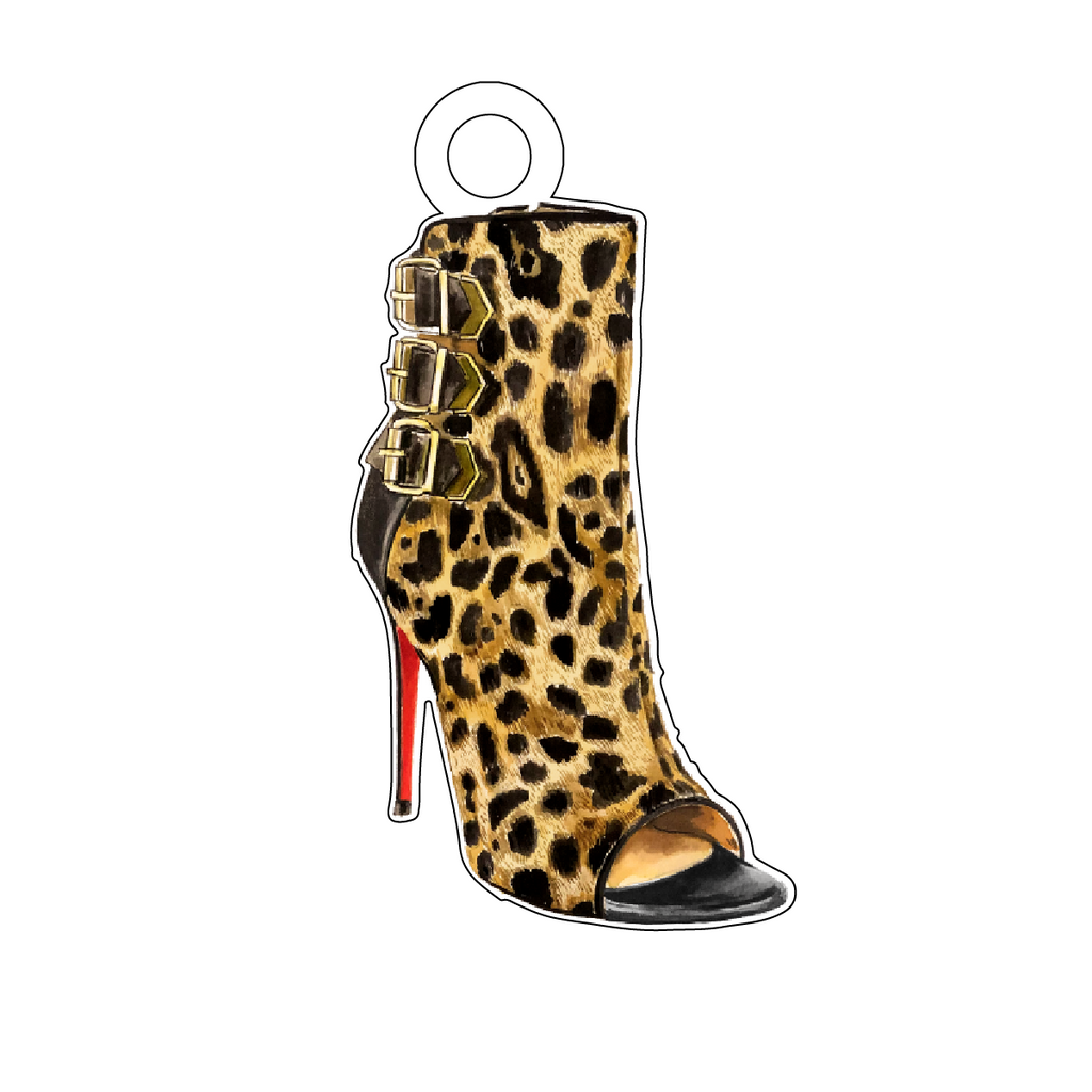 DESIGNER LEOPARD PEEP-TOE BOOTIE ACRYLIC GIFT TAG*