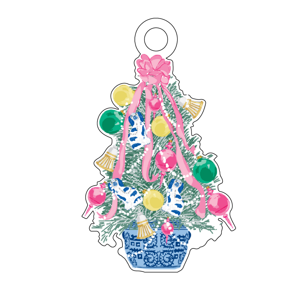 FESTIVE CHRISTMAS TREE TOPIARY ACRYLIC GIFT TAG