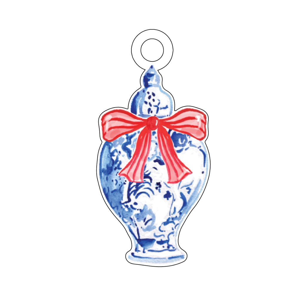 BLUE & WHITE GINGER JAR with RED STRIPE BOW ACRYLIC GIFT TAG*