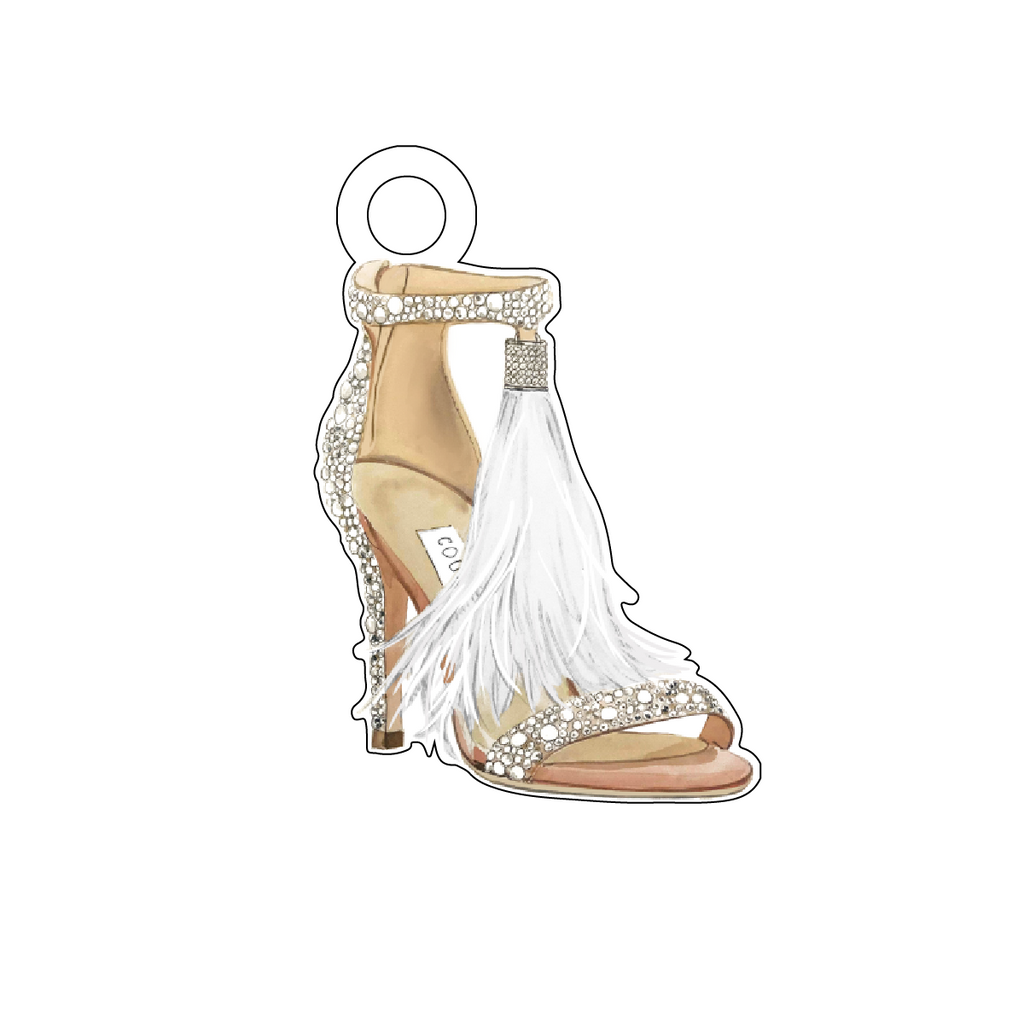 DESIGNER CRYSTAL FEATHER TASSEL STRAPPY HEEL ACRYLIC GIFT TAG*