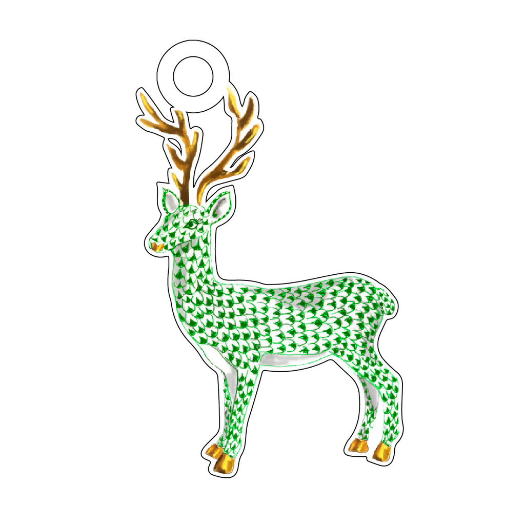 GREEN HEREND REINDEER ACRYLIC GIFT TAG