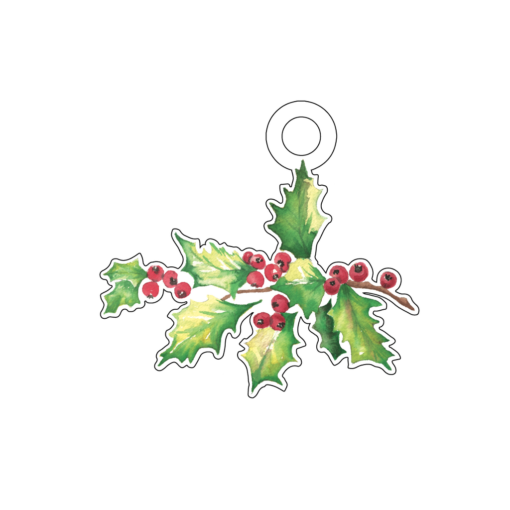 CHRISTMAS HOLLY ACRYLIC GIFT TAG