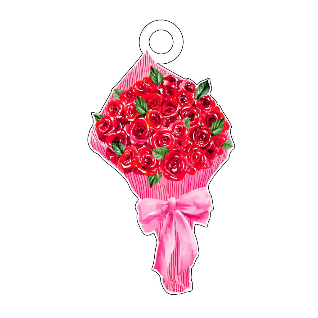 BOUQUET OF ROSES IN PINK PAPER ACRYLIC GIFT TAG*